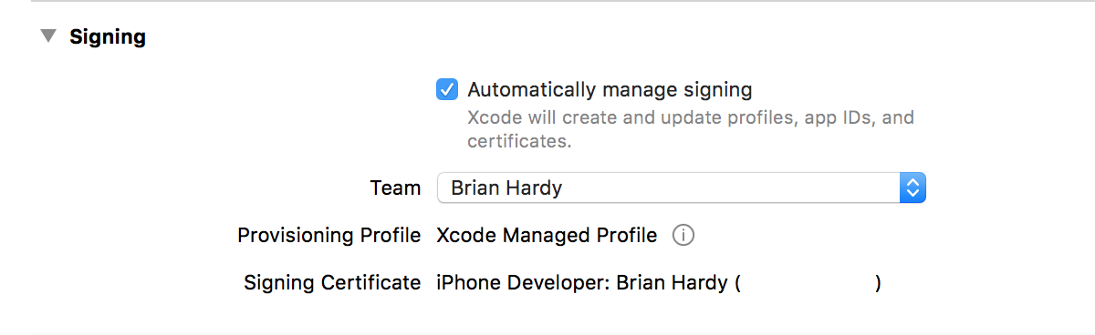 Automatic Signing in Xcode